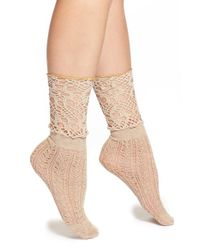 Free People | Natural 'blanket' Crochet Ankle Socks | Lyst