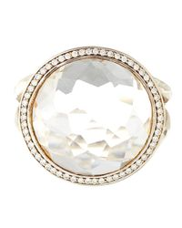 Ippolita - Metallic Silver Clear Quartz And Diamond Stella Lollipop Ring - Lyst