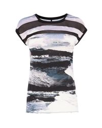 Karen Millen | Multicolor Print And Sheer T-shirt | Lyst
