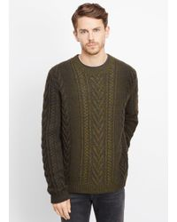 VINCE | Green Wool Cashmere Marled Cable Knit Dégradé Crew Neck Sweater for Men | Lyst