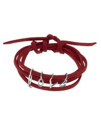Dalla Nonna | Red Little Letter Wrap Bracelet In Silver | Lyst