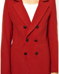 Oasis - Red Double Breasted Coat - Lyst