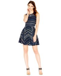 Maison Jules - Multicolor Happy Dotted Stripe Flared Dress - Lyst