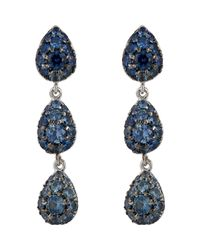 Finn | Blue Pave Triple-drop Earrings | Lyst