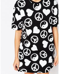 Jaded London | Black Peace & Love Symbol Oversized T-shirt | Lyst