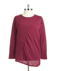 DKNY | Pink Plus Asymmetrical Pleated Top | Lyst