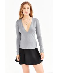 Silence + Noise | Gray Plunge V-neck Top | Lyst
