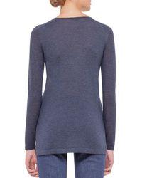 Akris - Blue Long-sleeve Pique-knit Cashmere Top - Lyst