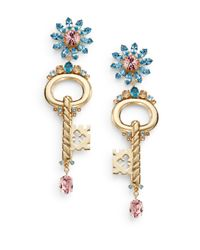 Dolce & Gabbana | Metallic Floral Key Pendant Drop Clip Earrings/goldtone | Lyst