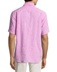 Neiman Marcus - Purple Short-sleeve Linen Chambray Shirt for Men - Lyst