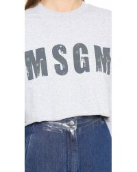 MSGM | Gray Cropped Sweatshirt - Grey | Lyst