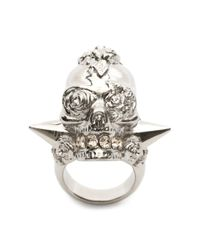Alexander McQueen | Metallic Punk Rose Ring for Men | Lyst