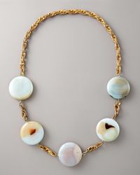 Devon Leigh - Metallic Long Rounddisc Necklace - Lyst