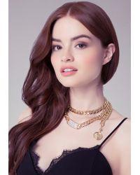 Bebe | Metallic Logo Crystal Id Necklace | Lyst