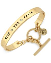 BCBGeneration - Metallic Gold-tone Keep The Faith Bangle Bracelet - Lyst