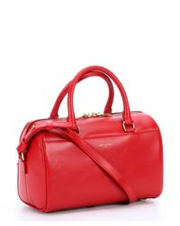 Saint Laurent - Red Leather Convertible Mini Duffle Bag - Lyst
