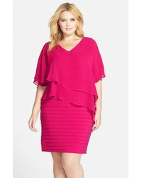 Adrianna Papell | Purple Tiered Chiffon Jersey Dress | Lyst