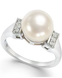 Macy's | Cultured Freshwater Pearl (9mm) And Diamond Accent Ring In 14k White Gold | Lyst
