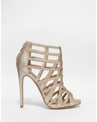 38286f52576 Lyst - Steve Madden Marquee Gold Embellished Heeled Sandals in Metallic