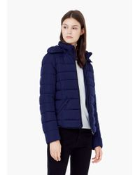 Mango | Blue Detachable Hood Quilted Coat | Lyst