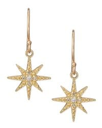 Mizuki | Metallic Pave Diamond Star Drop Earrings | Lyst