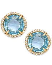 Macy's | Green Blue Topaz (4 Ct. T.w.) And Diamond Accent Stud Earrings In 14k Gold | Lyst
