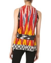 Altuzarra - Red Printed Halter Silk Top With Pleats - Lyst