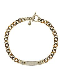 Michael Kors | Gray Curb-Chain Plaque Necklace | Lyst