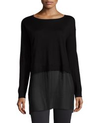 Eileen Fisher - Black Featherweight Cashmere Box Top With Silk Block - Lyst