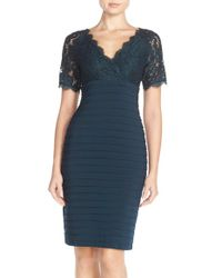 Adrianna Papell | Blue Lace & Pleat Jersey Sheath Dress | Lyst