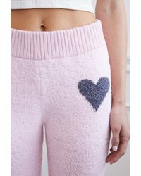 Forever 21 - Pink Chenille Heart Lounge Pants - Lyst