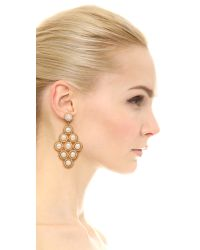 Miguel Ases - Stephanie Earrings - White/Gold - Lyst