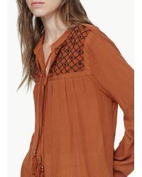 Mango - Orange Embroidered Cord Blouse - Lyst