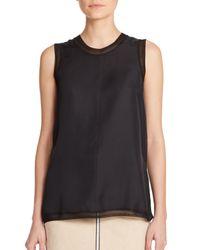 Rag & Bone - Black Maude Sheer-trim Silk Tank Top - Lyst