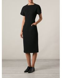 Proenza Schouler - Black Fitted Midi Dress - Lyst