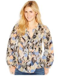Lucky Brand - Blue Lucky Brand Long-Sleeve Split-Neck Printed Blouse - Lyst