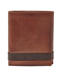 Fossil | Brown 'quinn' Trifold Wallet for Men | Lyst