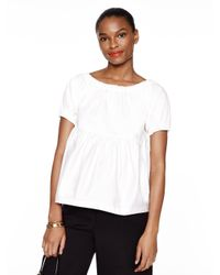 kate spade new york | White Cotton Sateen Tiered Top | Lyst