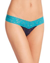 Hanky Panky | Blue Colorplay Low-rise Lace Thong | Lyst