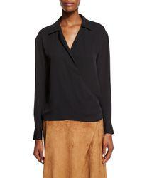 Ralph Lauren Collection - Black Long-sleeve Silk Georgette Wrap Blouse - Lyst