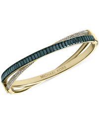 Michael Kors - Blue Gold-Tone Pavé Hinge Bangle Bracelet - Lyst