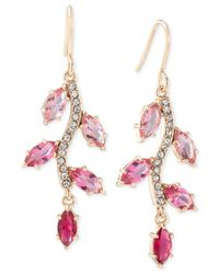 Carolee - Gold-tone Pink Crystal Linear Earrings - Lyst