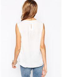 Vero Moda - Natural Sleeveless Top With Double Layered Hem - Lyst
