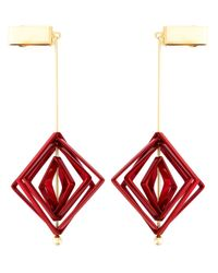 MSGM | Red Geometric Clip-on Earrings | Lyst