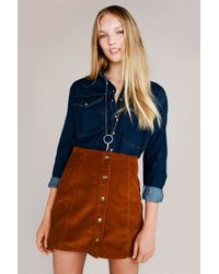 TOPSHOP | Brown Cord Button Front A-line Skirt | Lyst