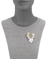 Alexis Bittar - Multicolor Desert Jasmine Lucite, Jasper, Chalcedony & Crystal Floral Punk Pin - Lyst