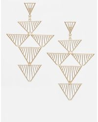 ASOS - Metallic Cage Triangle Chandelier Earrings - Lyst