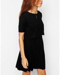 ASOS | Black Skater Dress With T-shirt Overlay | Lyst