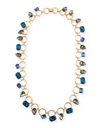 Fragments - Blue Mixed-Shape Crystal Line Necklace - Lyst