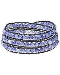 Aeravida - Blue Sodalite Treasure Triple Wrap Leather Bracelet - Lyst